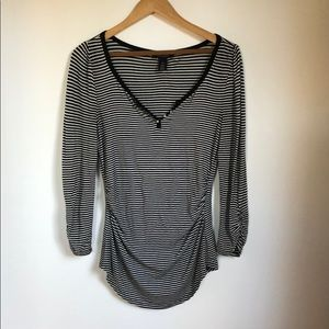 WHBM Top Rouched, 3/4 Sleeves XS